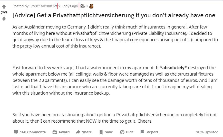 Reddit_liability insurance germany_comparison of the 5 best liability insurance offers_expat guide_Privathaftpflichtversicherung